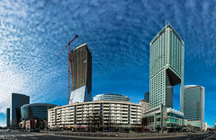 Curdled milk on the sky (Daniel*1977) Tags: blue sky urban panorama tower glass wall skyline skyscraper giant gold hotel mirror milk office site high construction europe image daniel towers creative picture evil samsung poland superior mammoth huge warsaw civic imaging tall elevated soaring shape gigantic 1977 stitched less colossal 44 towering lofty enormous tremendous vast exalted terrific gargantuan untold curdled nx mountainous whacking thundering cyclopean strapping beamy upstanding zota nx200 zlota kulinski daniel1977 samsungnx samsungimaging samsungnx200 danielkulinski