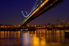 Bridge to the City (SunnyDazzled) Tags: nyc newyorkcity longexposure nightphotography bridge newyork tourism water night reflections river gold newjersey cityscape shine view scenic le citylights hudson lighttrails gwb fortlee georgewashingtonbridge necklacelights