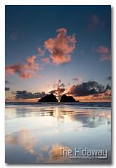 Cloudy sunset - Explore #145  01/04/12 (Simon Bone Photography) Tags: sea sky cloud sun reflection beach silhouette sand cornwall cornishcoast canon1740mmlf4 cornishsunsets wwwthehidawaycouk canoneos7d hitechnd09reversegrad