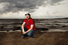 At The Beach (Chaos2k) Tags: portrait lake ontario canada beach water clouds self spring sand 365 2012 manfrotto northbay nipissing canon24105l 488rc2 strobist 580exii 055xprob canon5dmarkii brianboudreau