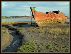 Rusting Away (Jon 89) Tags: road park old blue winter sea england sky cloud brown sun cold west green bird abandoned industry nature grass metal river way walking landscape coast countryside boat town photo seaside fishing sand rust paint industrial ship view mud britain walk district great watching north footprints reserve sunny away visit scene location lancashire resort coastal shipwreck rusted coastline disused rusting marsh february economic wreck derelict blackpool fleetwood 2012 conurbation jameson marshes wyre fylde riverwyre amounderness fleetwoodmarshnaturereserve