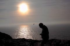 Sagres...Portugal (Don Jackson) Tags: life sunset sea sky panorama man reflection bird coast seagull profile bald documentary calm romantic moment capture tranquil jornalism sillohette sceniv
