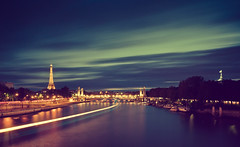 Vintage Paris (A-lain W-allior A-rtworks) Tags: old bridge blue paris tower water vintage pose nikon eau long exposure eiffel bleu nd pont past fleuve filtre pass longue fliter bleut d300s