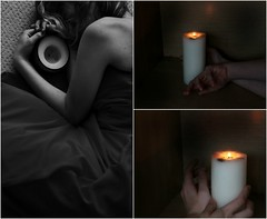 and it's driving you crazy (we are the dreamers-) Tags: light blackandwhite selfportrait colour collage hope triptych glow candle dress 365 protective 27 glimmer abbileake