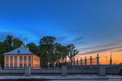 (dgaripov) Tags: bridge sunset summer tree fence river garden evening cathedral russia palace saintpetersburg fortress embankment neva parapet fontanka peterandpaul   whitenights                 201206     prachechny