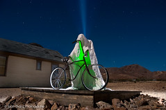The Ghost Rider of Rhyolite (Matt Granz Photography) Tags: light sky sculpture mountain green art night painting stars town long exposure desert nevada ghost painter rhyolite