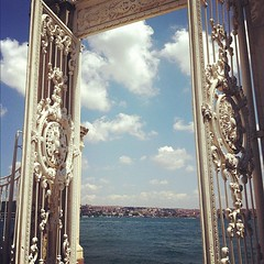 (Nohition) Tags: sea sky clouds turkey square boat gate istanbul palace squareformat rise dolmabahce bosphorus saray        iphoneography instagramapp uploaded:by=instagram