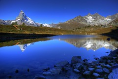 ~MatterHorn & LeiSee~ (PS~~) Tags: road travel blue sky mountain lake alps color canon landscape photography town klein europe swiss railway lakeside glacier gornergrat zermatt matterhorn riffelsee temperature section sunnegga   riffelberg   riffelalp   stellisee visp  leisee rotenboden taesch