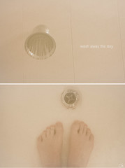 Wash away the day. (Justin Wolfe) Tags: pink justin portrait man hot feet water fog self shower person foot soap bath diptych warm toes toe skin foggy drop h2o minimal cleaning clean shampoo drip dirt wash tub faucet minimalism scrub minimalistic washing suds conditioner wolfe loofah cleansing cleanse wipeaway jwolfe