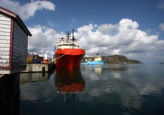 In the Harbour (Karen_Chappell) Tags: ocean blue red canada water clouds newfoundland reflections boat ship harbour stjohns sunny wideangle calm atlantic nfld