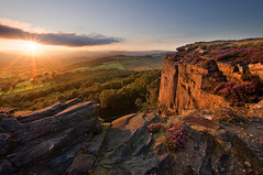 Millstone Edge (Paul Newcombe) Tags: uk sunset summer england flower english landscape photography countryside nationalpark heather derbyshire peakdistrict sigma wideangle august bloom sunburst british peaks 1020 surpriseview hathersage millstoneedge surpiseview britnatparks