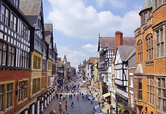 Chester (Paula J James) Tags: street old city red england architecture buildings flickr view cheshire roman good great victorian lion bull medieval best explore chester dee pied racecourse romans streetview eastgate walled northgate restorations flickrexplore