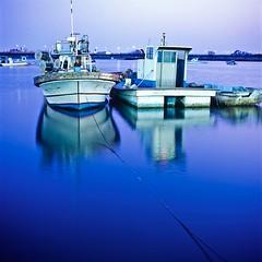 Night Blue (Koolyooj) Tags: 6x6 film t korea hasselblad velvia100 planar hassel carlzeiss 503cw gyeonggiprovince distragonf2880mm 월곶포구