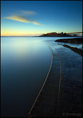 Blue Light - Birnbeck Pier, Weston-super-Mare (Pixelsuzy) Tags: uk sunset water silhouette seaside unitedkingdom dusk wideangle bluesky somerset riversevern slipway birnbeckpier wsm slowwater southwestengland sigma1020mmlens 10stop westonba