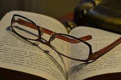 Glass(es) (Scat2906) Tags: glass lamp table glasses book words harrypotter 52weeks2012