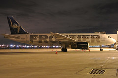 N210FR Frontier A320-214 in KCLE (GeorgeM757) Tags: night airplane airport aircraft aviation airbus frontier clevelandhopkins cle kcle a320214 alltypesoftransport n210fr georgem757sphotostream
