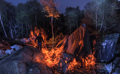 Heat.  133/366. (FadeToBlackLP) Tags: longexposure nightphotography wild orange lightpainting silhouette rock night canon fire woods rocks glow darkness peakdistrict flames dream creepy backlit boar clough lightart skyray lightartist tokina1116mm lpuk