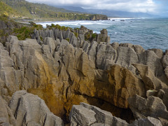 Marching to the Sea (Steve Taylor (Photography)) Tags: sea newzealand beach nature stone coast rocks waves formation nz strata limestone southisland weathered coastline layers pancake tasman westcoast punakaiki stacks putai