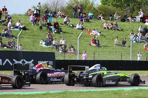 Luis Leeds and Zane Goddard in British Formula Four during the Thruxton weekend, June 2016