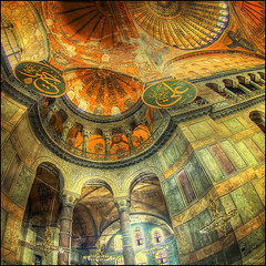 (2290) Hagia Sophia (Fisheye world) (QuimG) Tags: art architecture turkey golden arquitectura interior olympus istanbul mosque fisheye hagiasophia specialtouch quimg quimgranell joaquimgranell afcastell obresdart