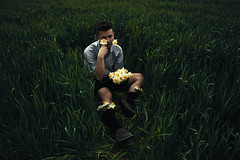 (Anton Redding) Tags: flowers gay portrait brown selfportrait art face grass socks self canon silver outside outdoors photography eos photo spring photographer head mark fineart fine handsome ii daffodil 5d anton dslr redding daffodill markii selfie
