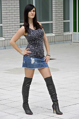 Chrissi 06 (The Booted Cat) Tags: sexy girl model miniskirt jeans heels overknee boots legs highheels