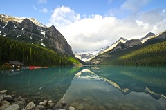 Quiet Morning (Mannington Creek) Tags: lake louise canada water mountains rocks reflections sky clouds boats landscape snow wow canon photographer