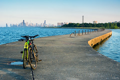 Swoop and Skyline (Andy Marfia) Tags: sunset chicago skyline iso100 cycling pier bikes lakemichigan uptown f8 lakefront bicyles montrosepier 1100sec d7100 1685mm