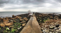 Sea view #01 (Mistapiggeh) Tags: sea sky people autostitch seaweed clouds rocks multipleexposure dorset swanage breakwater iphone4s
