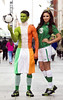 Model Nadia Forde wearing the full Irish football was joined football fan Daniel Cole as they called on passionate Irish football to come to Life Style Sports in the Blanchardstown Retail Park this Sunday Photo:Leon Farrell/Photocall Ireland.