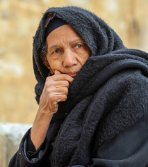 Eyes Contact (ybiberman) Tags: portrait woman scarf easter israel jerusalem palm christian egyptian oldcity coptic pilgrim alquds legswashingceremony