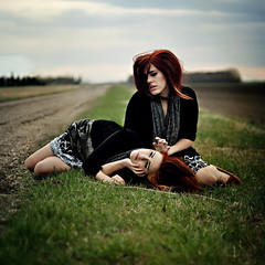 (emmakatka) Tags: road two portrait girl field self alone wind 14 country emma manipulation double mm 50 edit katka