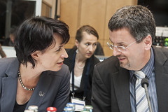 Doris Leuthard in discussion