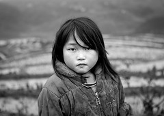 Black Hmong Young Girl In Front Of Terrace Paddy Fields, Sapa, Vietnam (Eric Lafforgue) Tags: people blackandwhite cold water girl childhood horizontal female youth standing person one kid asia exterior rice serious vietnam viet cheeks i