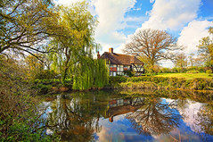 (Tim Stocker) Tags: lake reflection farmhouse cottage canon5d hdr photomatix horshamstoneroof photoshopelements10 timstocker