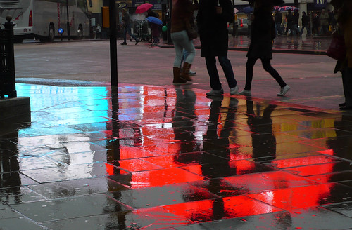 Piccadilly Circus reflections in the rain