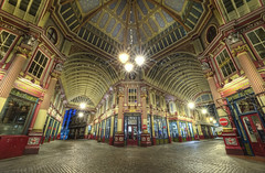Leadenhall Market (odin's_raven) Tags: street city longexposure nightphotography light england urban colour london english architecture night photoshop shopping geotagged photography photo high nikon europe long exposure colours leadenhallmarket nightshot dynamic market britain geometry capital victorian harry harrypotter photograph british nikkor raven hdr highdynamicrange lloyds cityoflondon lloydsbuilding leadenhall photorealism lloydsoflondon bishopgate photomatix nikor odins d700 1424mm odinsraven