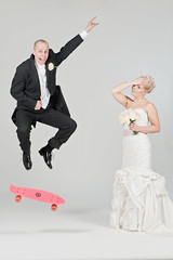 H & K - The Ultimate Wedding Portrait (Ilkka Hamalainen) Tags: pink wedding portrait color studio groom bride photo nikon different artistic longboard skateboard d700 ilkkahmlinen