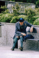 Street photography. (boneytongue) Tags: street old people man public 35mm outdoors scotland kilt candid events scottish objects scanned bonnet tartan phtoography
