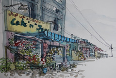 Flower seller, Bangalore (Mallika_Mohini) Tags: flowers lake watercolor bangalore locationdrawing urbansketching