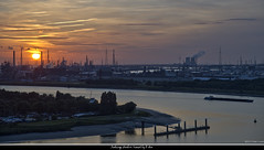 Antwerp Harbor Sunset (pDOTeter) Tags: sunset haven port harbor zonsondergang nikon harbour cropped antwerp hdr antwerpen d800