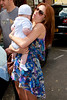 Una Healy holding a baby Celebrities leaving their hotel after attending the wedding of Rochelle Wiseman and Marvin Humes which took place on Friday (July 27) at Blenheim Palace England