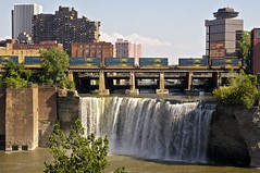 CSX at High Falls (RocPX) Tags: bridge blue ny water train river roc waterfall high downtown raw upstate falls line rochester boxcar division genesee csx highfalls rocpx