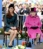 HRH Queen Elizabeth II and Catherine, Duchess of Cambridge, aka Kate Middleton at Leicester City centre on March 8, 2012. The Queen and members of the Royal family are visiting Leicester as part of her Diamond Jubilee Tour Leicester, England