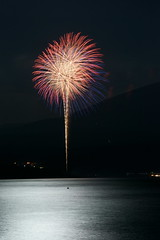Fireworks of Lake Motosu (peaceful-jp-scenery) Tags: moon fireworks sony   tamron      a001 lakemotosu  fuji5lakes dslra900 spaf70200mmf28di