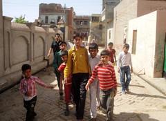 Tour guides around the village (annieminna) Tags: india children village haryana jind