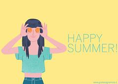 HAPPY SUMMER! / Apricot (juliette la bte) Tags: pink summer girl wearing fashion yellow illustration happy estate apricot ragazza albicocca illustrazione acquamarine