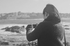 273/365 () Tags: camera winter portrait people blackandwhite bw cold girl rock asian phone bokeh sydney freezing samsung wave windy australia galaxy bondibeach beachside scarve takingpicture