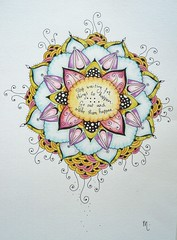 Pen and pencil mandala, now colored (MakeArtBeHappy) Tags: pen drawing quote mandala doodles coloredpencil tangles zentangles zendala