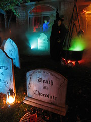 Halloween Night 2012 (Warts and all...) Tags: blue red orange moon green graveyard fence candles smoke pumpkins full ghosts witches crows tombstones coffins cauldrons jols halloween2012